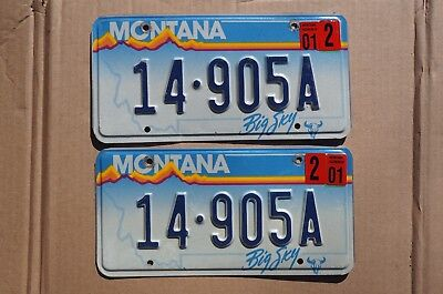 2001 Montana License Plate Pair / Set  - LOT of 2