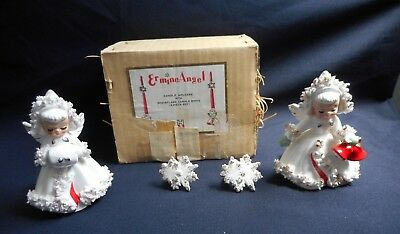 Holt Howard Spaghetti Angels Christmas Candle Holders w/box w/Snowflake Candle R
