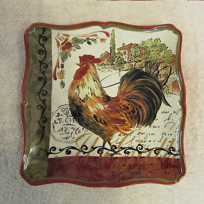 """Certified Intl Square Rooster 10 1/2"""" Dinner Plate by Pamela Gladding"""