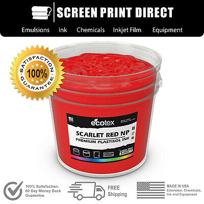 Ecotex SCARLET RED NP- Premium Plastisol Ink for Screen Printing - ALL SIZES