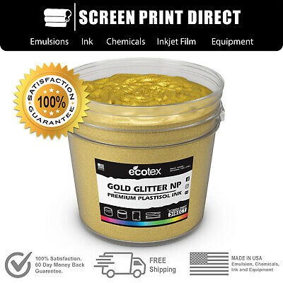 Ecotex GOLD GLITTER - Premium Plastisol Ink for Screen Printing - ALL SIZES