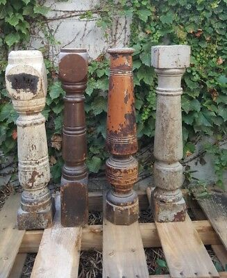 "Lot of 4- Vintage Architectural Salvage Original Newel Post Solid Wood  36"" x 6"""