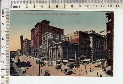 """Omaha -  """"8120. 16th and Farnam Streets, looking West..."""" - Busy Street Scene"""