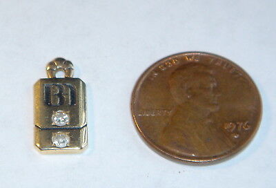 Bank Of America 14K Gold Service Award Charm Pendant w/ 2 Diamonds 1.56 Grams