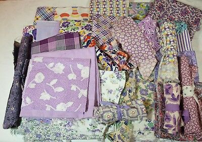 Lot of 30+ PURPLE Patterns Designs Vtg FEED SACK or OLD FABRIC PIECES - 3 lbs+