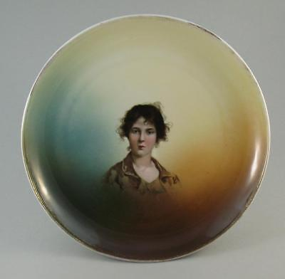 Antique 19thC. Ph. Rosenthal Bavaria Wall Plaque Plate Young Lady 30cm - A
