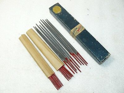 "21 Vintage Simonds Red Tang 5"" Files Double Extra Slim Tapers in Box"