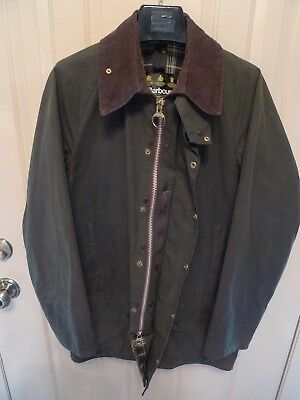 Barbour- A150 Beaufort Waxed Cotton Jacket- Sage--Made In England- Size 40