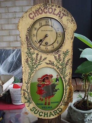 Antique French Chocolate Advertising wall clock, Cacao Suchard, no reserve