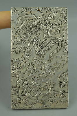 Collectible Tibet Silver Carve China Myth Dragon Rare Amulet Man Pendant Gift