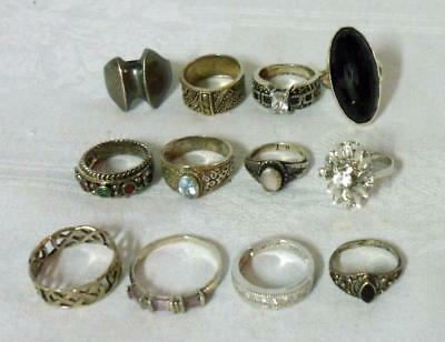 Sterling Silver Estate Ring Lot 12 Pieces