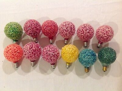 12 Vintage Lighted Frosted Snowball Ice GE D30 Bulbs Christmas Lights Working!