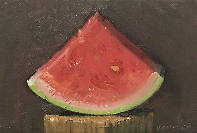 """""""Watermelon Slice"""" original oil painting a day, still life 5x7 by VERRIER"""