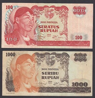 -Auction- Indonesia 1968 1000 And 100 Rupiah