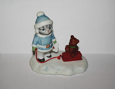 Kitty Cucumber Flexible Flyer Pickles Pulling Sled Porcelain Figurine By Schmid