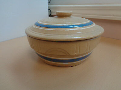NM Vintage Covered Stoneware Ovenware Casserole Dish-Blue/White Bands