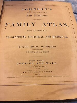 Johnsons New Illustrated Family Hard Cover Atlas Of The World 1862