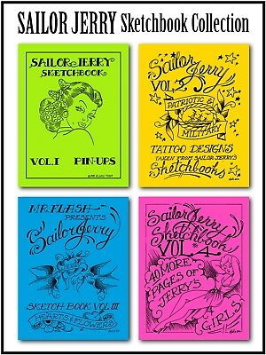 SALE SAILOR JERRY Sketchbook Vol 1-4, Flash book, Tattoo, Machine, Hardy, Jensen