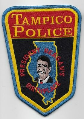 Tampico Police State of ILLINOIS IL Shoulder Patch Ronald Reagan