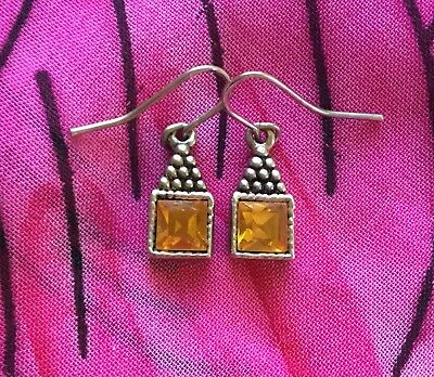 Vintage Antique Silver Orange Stone Crystal Bling Earrings Deceased Estate Vtg