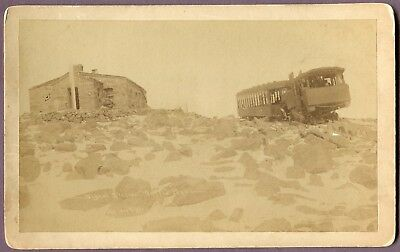 rare oversized CABINET CARD summit Pike's Peak SIGNAL STATION railroad COLORADO