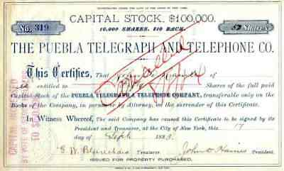 1883 Puebla Telegraph & Telephone Co Stock Certificate
