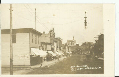 Blanchardville, Wis Business District Real Photo Dated 1908