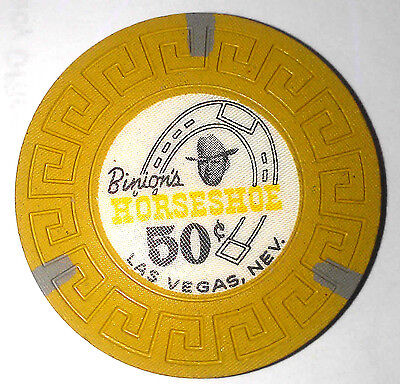 Binions Horseshoe Obsolete 50 cent Scroll mold casino chip