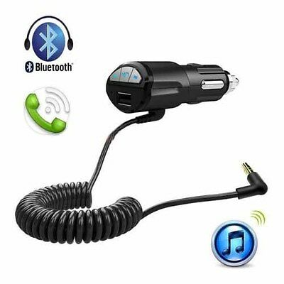 HOT Car Handsfree Bluetooth AUX Stereo Audio Charger Adapter A2DP 3.5mm USB FAIT