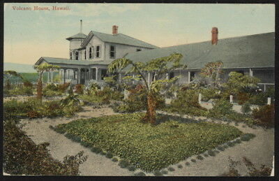 Early 20th c. Volcano House w/square tropical garden in Hawaii color post card