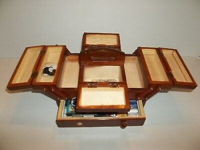 """5"""" Wood Sewing Box Footed W/swing Out Compartments Includes Thread-Pins-Buttons"""