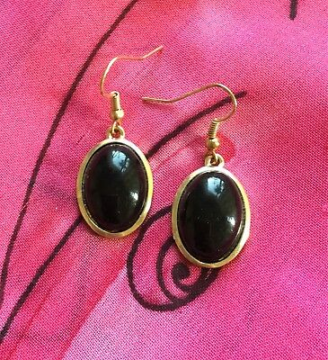 Vintage Antique Gold Black Oval Crystal Gothic Drop Earrings Deceased Estate Vtg
