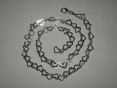"Sterling Silver 925 Heart Link Chain Necklace 16"" 3 mm"