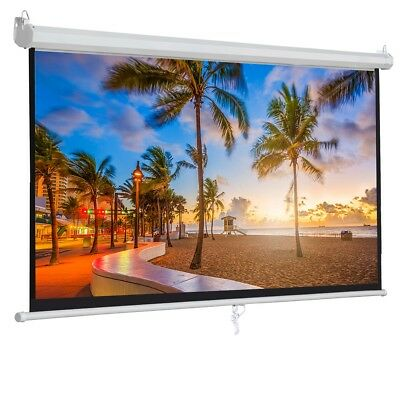 """100""""16:9 Projection White Screen Manual Pull Down Projector Home Movie Matte"""