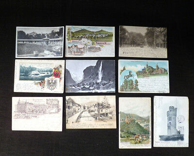 ~ antique post card lot of 11 undivided backs ~ GERMAN  ~ Germany ~ circa 1901