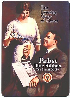 Pabst Blue Ribbon Beer - Large Metal Beer Fridge Magnet - Vintage Ad Design -PBR