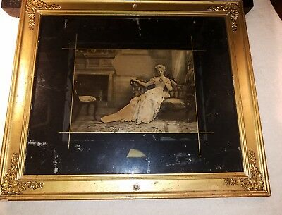 Antique Vintage Old Photo Woman Sitting 1800s? Framed