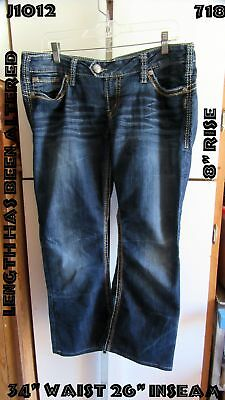 "Silver Tuesday 16 1/2 Jeans Woman's Size 34"" x 26"" Cropped Altered Length"