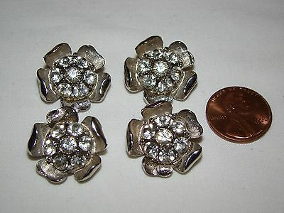 """Vintage Lot of 4 Silver Metal with Clear Rhinestones Flower Buttons 1 1/16"""""""