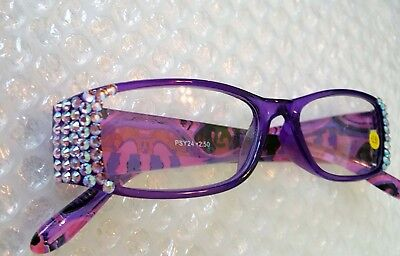 Purple Readers made with Violet Ab Swarovski Crystals Crystal Reading Glasses