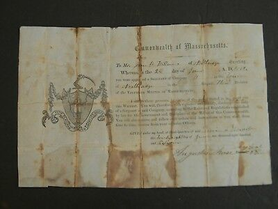 1861 MASSACHUSETTS CIVIL WAR APPOINTMENT SIGNED by MAJ. GENERAL  AUGUSTUS MORSE