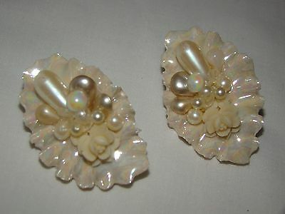 Vintage Signed White Ceramic Porcelain Flowers Faux Pearls Clip-on Earrings 2""