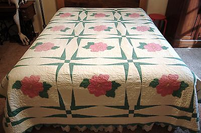 Vintage handquilted quilt with large pink appliqued flowers-Excellent Condition