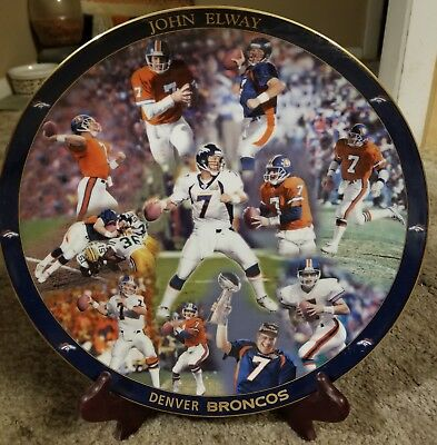 "John Elway, Shannon Sharpe 12""  Collector Plates Lot (2) Broncos"