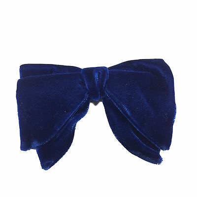 NEW - Vintage Crushed Velvet BLUE Teardrop Bowtie - Unworn from the 70's!