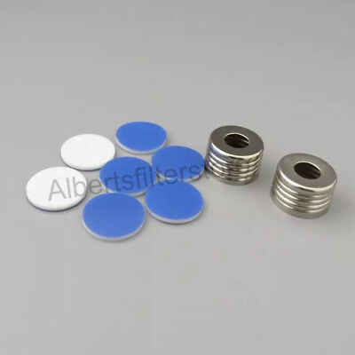 100pcs Sample Vial Caps&Septa With Hole, For 10ml/20ml 18mm Screw Top Vial