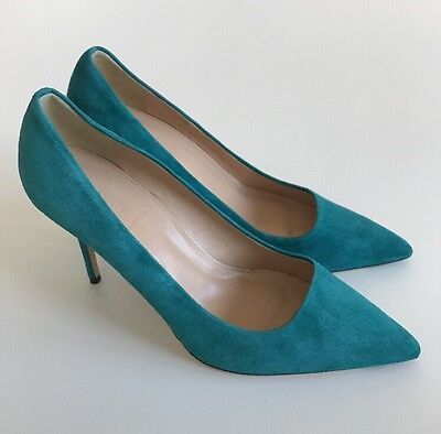 NEW $245 JCrew Elsie Suede Pumps Womens 9.5 Vivid Jade Green Italy A4969