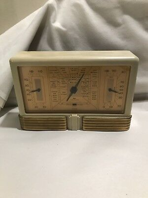 Taylor Stormoguide Weather Station Barometer Thermometer Deco White Bakelite
