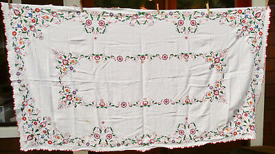 ANTIQUE POLISH CZECH Folk Art Embroidery LINEN TABLE CLOTH NAPKINS Hand Stitched