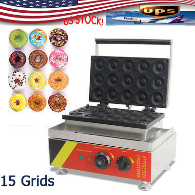 15 Grids Commercial Stainless Steel Electric Donut Maker Machine 110V 1500W New